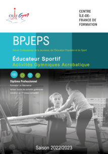 BPJEPS Activités Gymniques Acrobatiques - Saison 2020-2021 - VOUS POUVEZ VOUS INSCRIRE JUSQU'AU 3 JUILLET
