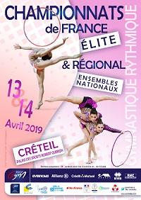 GR : Organigramme prévisionnel Chpt Régional Ens/Duo/Equip NAT et Chpt de France ELITE - Créteil, les 13 et 14 avril 2019