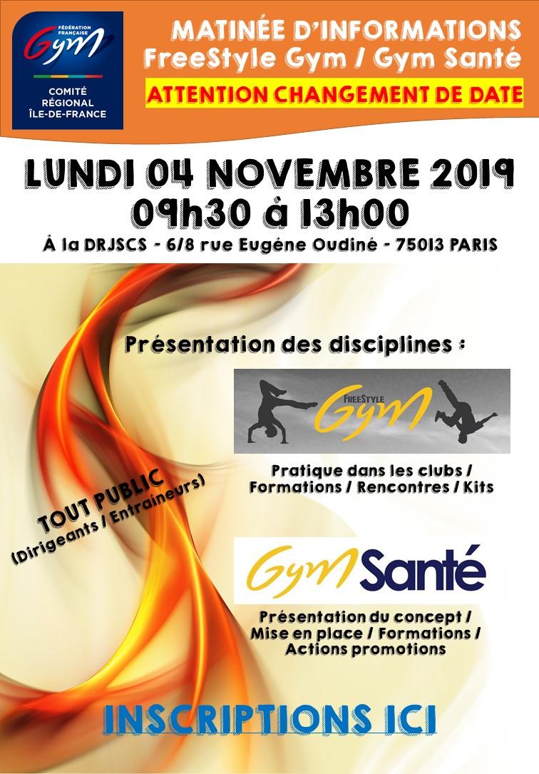 GPT : RAPPEL - Invitation matinée d'information - Freestyle Gym et Gym Santé