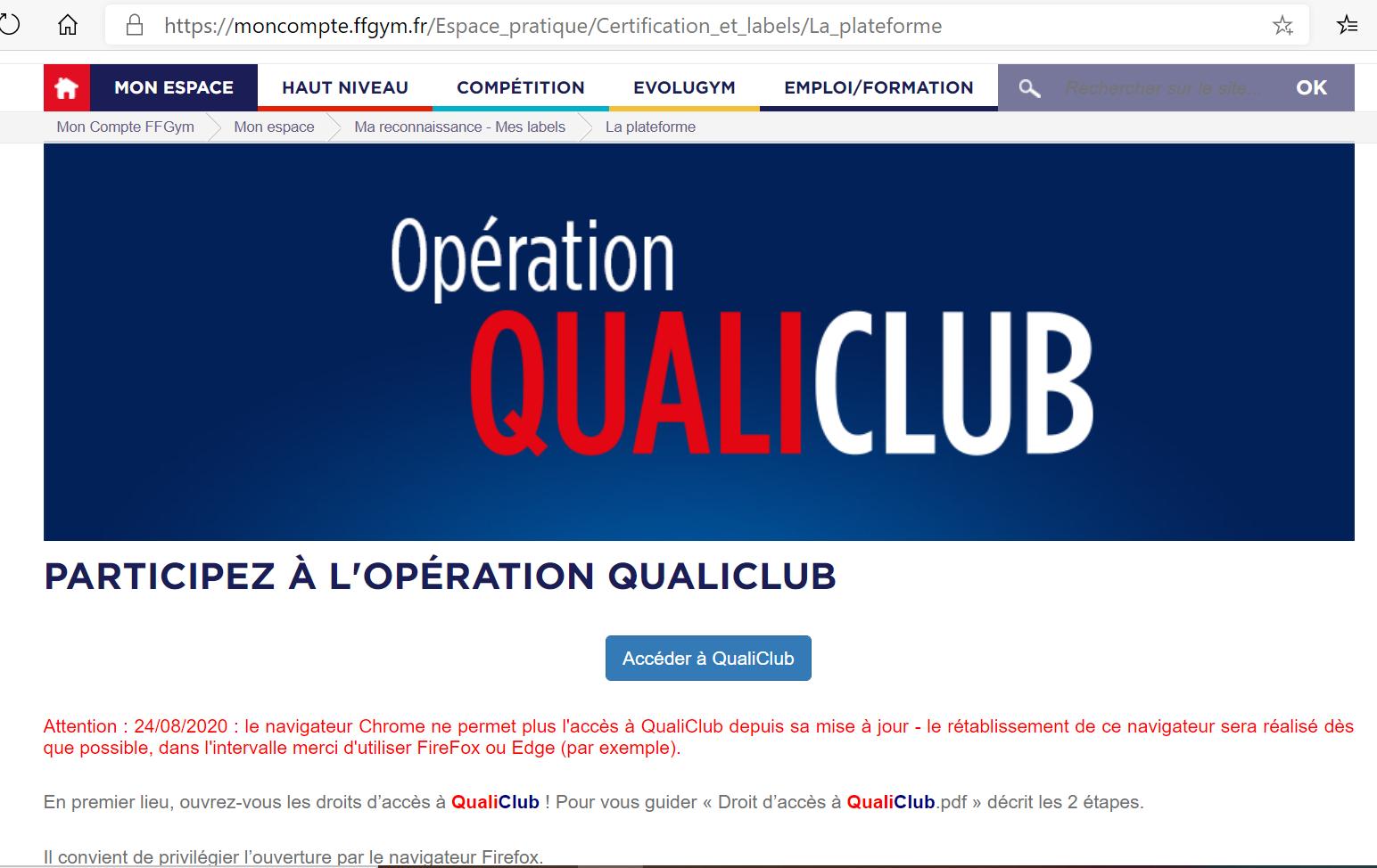 QualiClub : Clubs affiliés Or